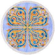 Blue Oriental Tile 02 Round Beach Towel