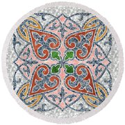 Blue Oriental Tile 03 Round Beach Towel