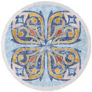 Blue Oriental Tile 04 Round Beach Towel