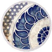 Blue Oriental Vintage Tile 05 Round Beach Towel