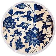 Blue Oriental Vintage Tile 06 Round Beach Towel