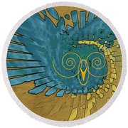 Round Beach Towel featuring the digital art Abstract Blue Owl by Ben and Raisa Gertsberg