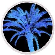 Blue Palm Tree Round Beach Towel by Andrea Mazzocchetti