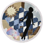 Blue Paper Doll Round Beach Towel