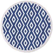 Blue Pattern Round Beach Towel