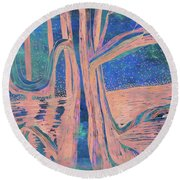 Blue-peach Dawn River Tree Round Beach Towel