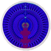 Blue Peacock Fractal 92 Round Beach Towel