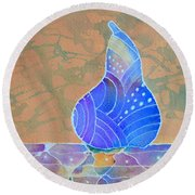Round Beach Towel featuring the painting Blue Pear by Nancy Jolley