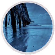 Blue Pier Round Beach Towel by RC Pics
