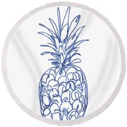 Blue Pineapple- Art By Linda Woods Round Beach Towel by Linda Woods