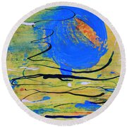 Blue Planet Abstract Round Beach Towel