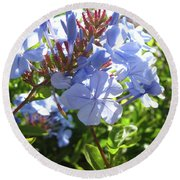 Round Beach Towel featuring the photograph Blue Plumbago by Mary Ellen Frazee