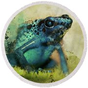 Blue Poisonous Frog Round Beach Towel