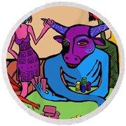 Blue Poker Bull Round Beach Towel