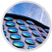 Blue Polka-dot Wave Round Beach Towel