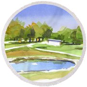 Round Beach Towel featuring the painting Blue Pond At The A V Country Club by Kip DeVore