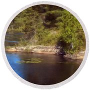 Blue Pond Marsh Round Beach Towel