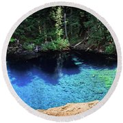 Round Beach Towel featuring the photograph Blue Pool by Cat Connor