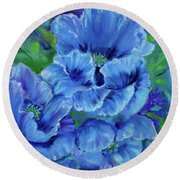 Blue Poppies 11 Round Beach Towel by Jenny Lee