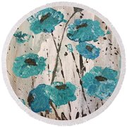 Round Beach Towel featuring the painting Blue Poppies by Lucia Grilletto