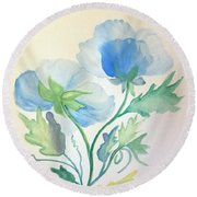 Blue Poppies Round Beach Towel by Maria Urso