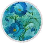 Blue Poppies, Watercolor On Yupo Round Beach Towel