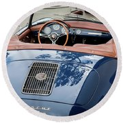 Blue Porche 356 Round Beach Towel