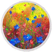 Blue Posies Round Beach Towel