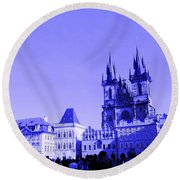 Round Beach Towel featuring the photograph Blue Praha by Michelle Dallocchio