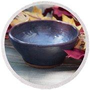 Blue Purple Bowl  Round Beach Towel