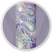 Blue Purple Japanese Dragon Round Beach Towel