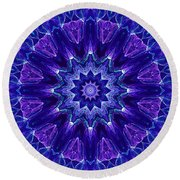 Blue And Purple Mandala Fractal Round Beach Towel