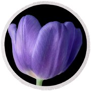 Blue Purple Tulip Round Beach Towel