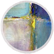 Round Beach Towel featuring the painting Blue Quarters by Nancy Merkle