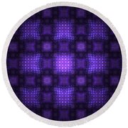 Round Beach Towel featuring the digital art Blue Quilt by Richard Ortolano