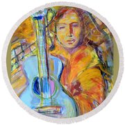 Round Beach Towel featuring the painting Blue Quitar by Mary Schiros