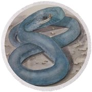 Blue Racer Snake Round Beach Towel