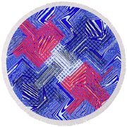 Blue Red And White Janca Abstract Panel Round Beach Towel