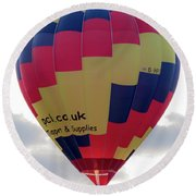 Blue, Red And Yellow Hot Air Balloon Round Beach Towel