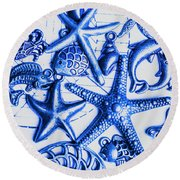 Blue Reef Abstract Round Beach Towel