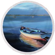 Blue Refuge Round Beach Towel