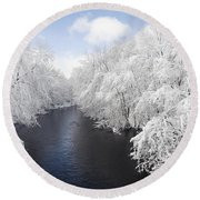 Blue Ribbon River Round Beach Towel