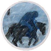 Blue Rider On Horse Round Beach Towel