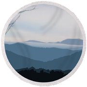 Blue Ridge Above The Clouds Round Beach Towel