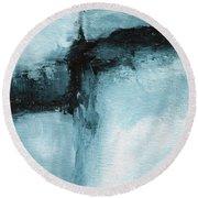 Blue Ridge- Abstract Art By Linda Woods Round Beach Towel