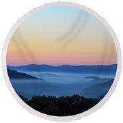 Blue Ridge Dawn Round Beach Towel by Dale R Carlson