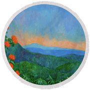 Blue Ridge Morning Round Beach Towel