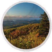Blue Ridge Mountain Autumn Vista Round Beach Towel