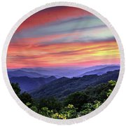 Blue Ridge Mountain Color Round Beach Towel