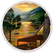 Blue Ridge Mountain Lakeside Cabin Round Beach Towel
